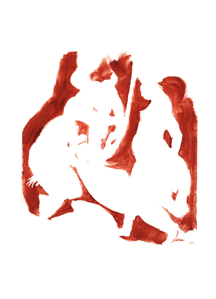 monotype after Titian, Diana and Callisto