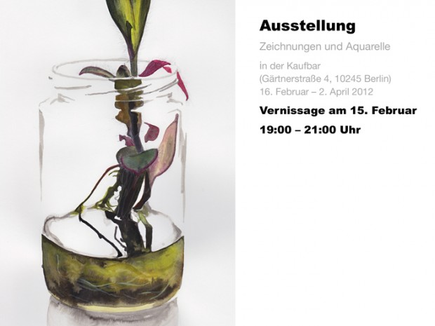 Invitation to Exhibition and Vernissage of my drawings at Kaufbar, Gärtnerstraße 4, 10245 Berlin, 16. February – 2. April, Vernissage at the 15. February.