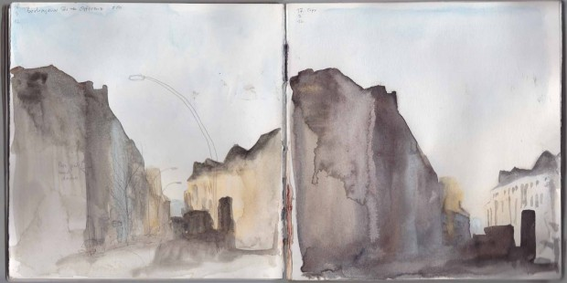 Boxhagener Str. twice. The view on the left was done on location, the one on the right is a copy I made of the first one when I was at home again, taking into account what I didn't like about the first one.