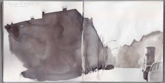 Boxhagener Str., pencil on location, colors/washes put in from memory at home.