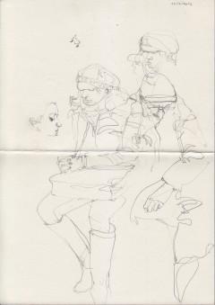 Sketch of people on public transport