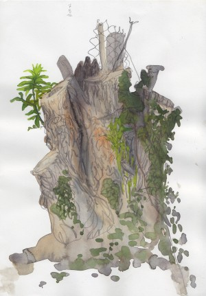 Baumstumpf an der B3
