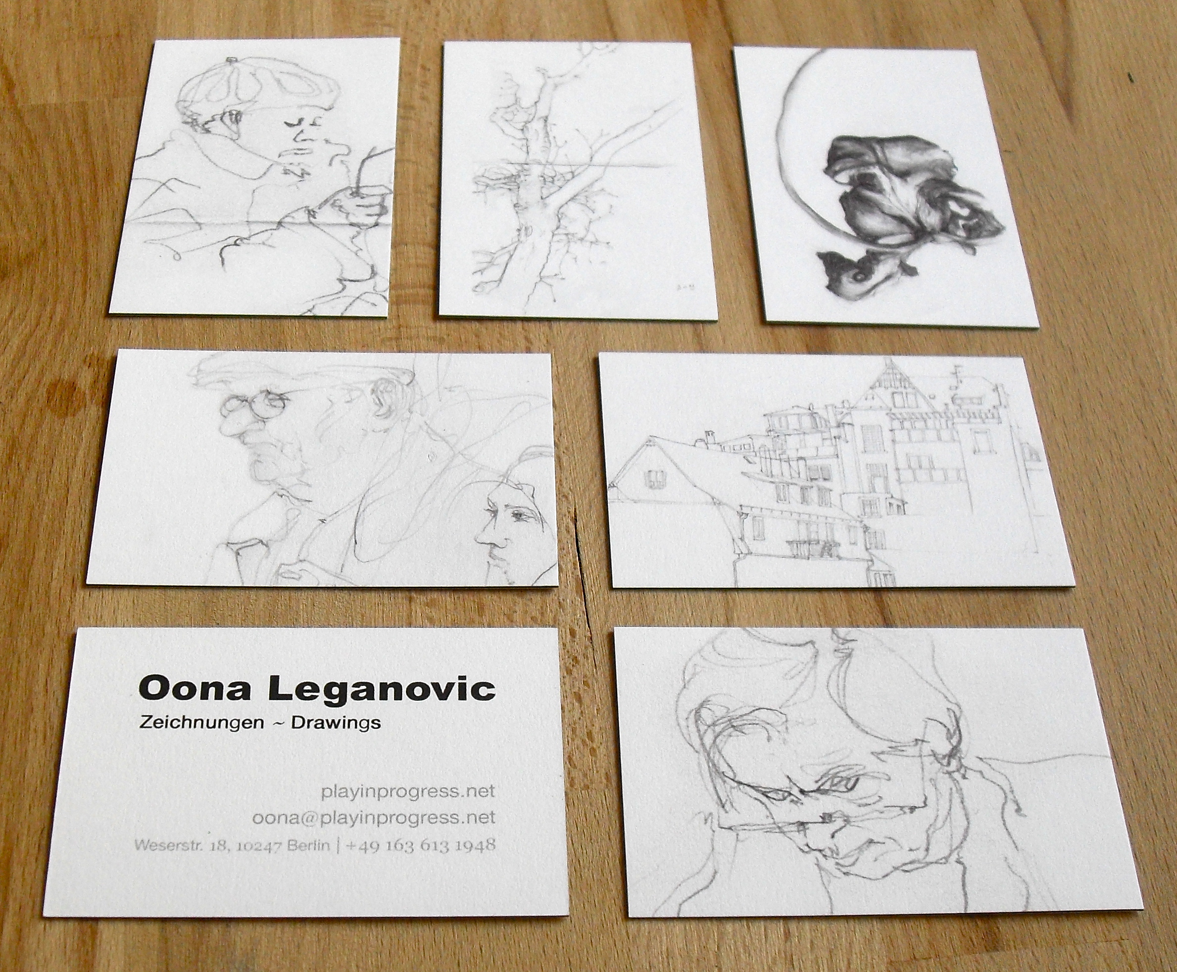 Oona Leganovic » Business cards — pencil drawings