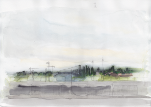 13 June, on my way to Oberbaumbrücke, pencil over watercolor and ink, 25 x 35 cm, 250 €.