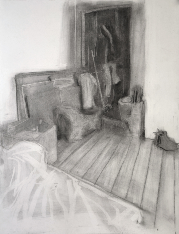 In my Room, 19 February 2013, watercolour on paper, 65 x 50 cm. For sale for ca. 9 days of living expenses in London (500€).