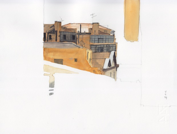 Lissabon, 7 September 2014, 12 x 20 cm, watercolour on paper.
