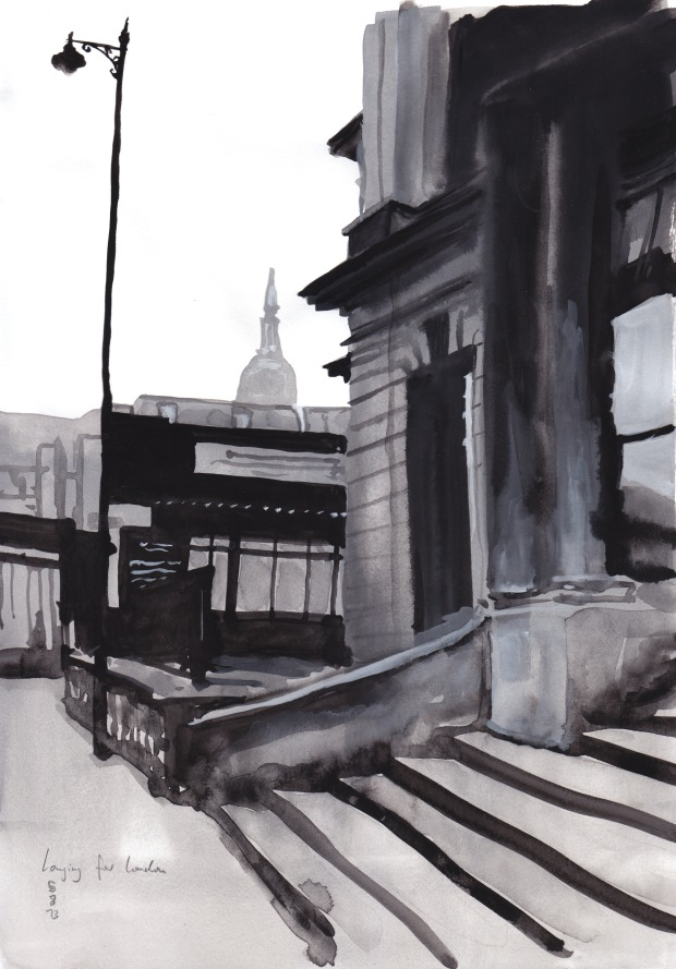 Longing for London, % August 2013, watercolur on paper, 29 x 21 cm.