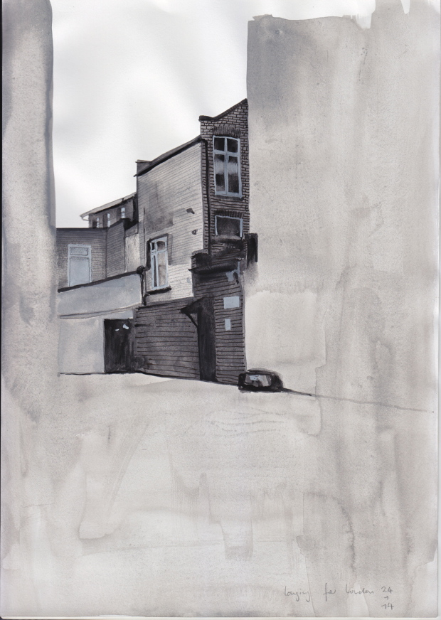 Longing for London, 24 January 2014, watercolour on paper, 29 x 21 cm.