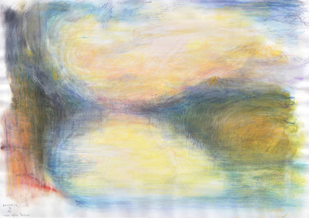 Study after Turner 1 (watercolour, pastells, and coloured pencil on paper).